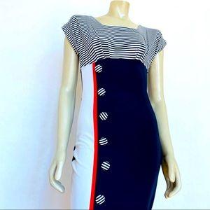Tatyana Voyage Pencil Dress 50s Nautical Stripes